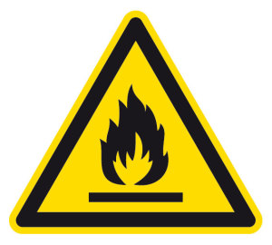Warning sign - warning of flammable substances - foil self-adhesive - side length 5 cm