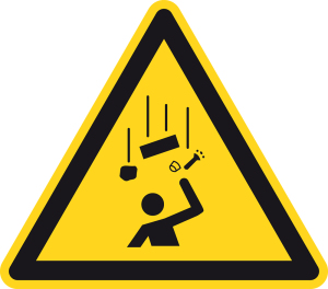 Warning sign - Warning of falling objects - Foil Self-adhesive - Length of leg 5 cm