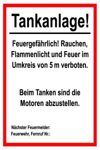 Information sign - Tankanlage! - Foil self-adhesive - 20 x 30 cm