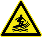 Warning sign - warning from surfers