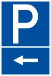 Parking sign - car park on the left