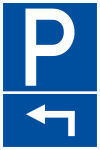 Parking sign - parking corner on the left