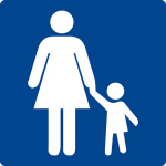 Swimming pool sign - mother with child