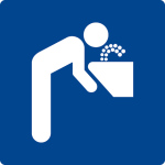 Swimming pool sign - drinking water