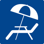 Swimming pool sign - sun umbrella and chaise longue