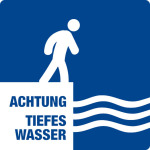 Swimming pool sign - Attention deep water