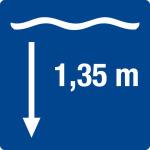 Swimming pool sign - water depth 1,35 m