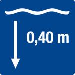 Swimming pool sign - water depth 0,40 m