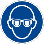 Billing sign - Use eye protection