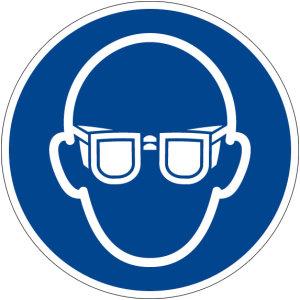 Mandatory sign - use eye protection - plastic - Ø 5 cm