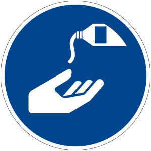 Mandatory sign - Use skin protection - Plastic - Ø 5 cm