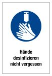 Billing sign - disinfecting hands