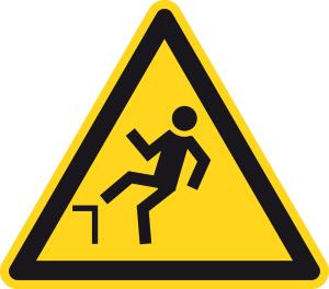 Warning sign - danger of falling - plastic - side length 5 cm