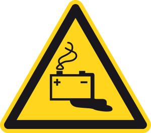 Warning sign - danger of battery hazard - plastic - side length 5 cm