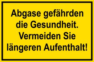 Warning sign - Exhaust gases endanger your health - Plastic - 20 x 30 cm