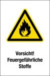 Warning sign - Caution! Fire-hazardous substances