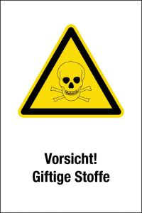 Warning sign - Caution! Toxic substances - plastic - 20 x 30 cm