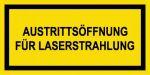 Warning sign - outlet opening for laser radiation