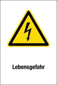 Warning sign - danger to life - plastic - 20 x 30 cm