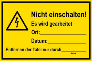 Warning sign - Do not switch on! - Plastic - 20 x 30 cm