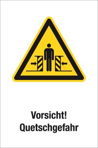 Warning sign - Caution! Danger of crushing - plastic - 20 x 30 cm