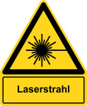 Warning sign with text field - laser beam