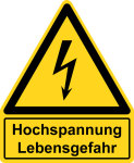 Warning signs with text field - high voltage Danger to life