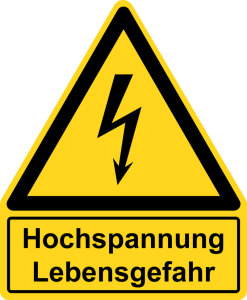 Warning sign with text field - high voltage Danger to life - plastic - side length 5 cm