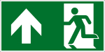 Escape route sign - Rescue route straight / left above