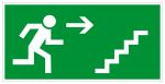 Escape route sign - escape stairs upwards to the right