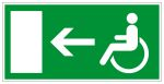 Escape route sign - Rescue route for wheelchair users on the left