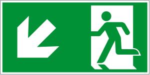 Escape route sign - Escape route left downwards - Foil self-adhesive - 10 x 20 cm