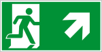 Escape route sign - escape route right upwards
