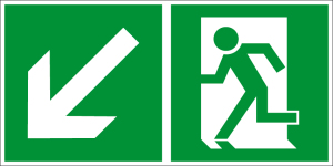 Escape route sign - Escape route left downwards - Foil self-adhesive - 10 x 20 cm