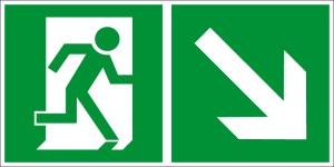 Escape route sign - Escape route right downwards - Foil self-adhesive - 10 x 20 cm