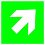 Escape sign - directional indication diagonal
