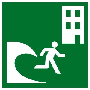 Rescue Sign - Tsunami Evacuation Area - Plastic - 5 x 5 cm