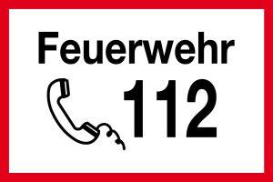 Fire brigade sign - Fire brigade 112 - Plastic - 20 x 30 cm