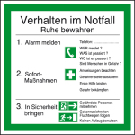 Notice in the workplace - behavior in case of emergency I
