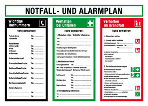 On-site notice - emergency and alarm plan - plastic - 50 x 70 cm