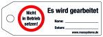 Locking label - Do not operate! - plastic 0.5 mm - 160 x 55 mm