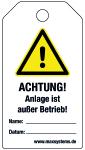 Locking label - ATTENTION! Insta ... ! - plastic 0.5 mm - 80 x 147 mm