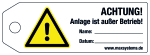 Locking label - ATTENTION! Insta ... ! - plastic 0.5 mm - 160 x 55 mm