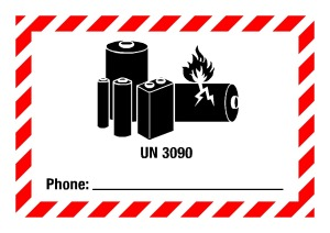 Danger sign - UN 3090 Phone, for small packages - self-adhesive film - 7.4 x 10.5 cm