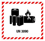 Hazardous goods label - Lithium batteries UN 3090