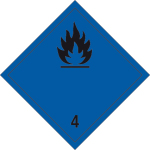 Dangerous goods mark - Flammable, solid substances (water-active)