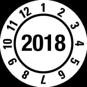 Annual test report 2018 JP19 | Optional color - foil self-adhesive, white & black - Ø 10 mm - 50 pieces