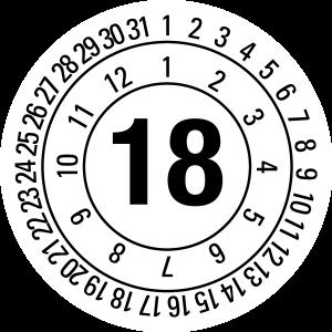 Annual Test Plaque 2018 | JP24 | Custom color - foil self-adhesive, white & black - Ø 10 mm - 50 pieces