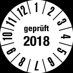 Annual Test Plaque 2018 | JP29 | Custom color - foil self-adhesive, white & black - Ø 10 mm - 50 pieces