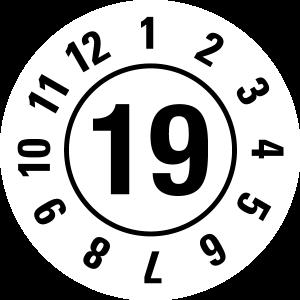 Annual test sticker 2019   JP15   Custom color - foil self-adhesive, white & black - Ø 10 mm - 50 pieces